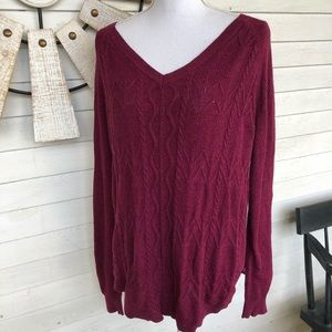 Deep Ruby Maroon V Neck Sweater